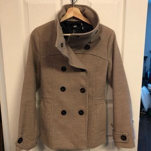 Beige/Nude/Tan double breasted high neck pea coat